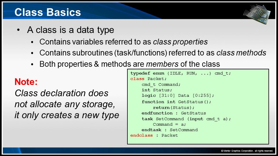 Classes Session   Subject Matter Expert - Dave Rich   SystemVerilog OOP for UVM Verification Course