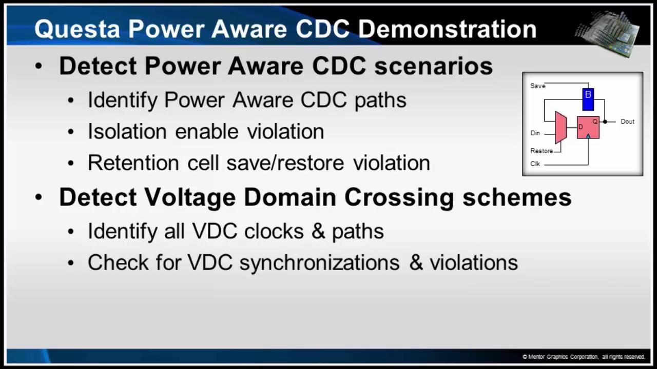 Questa CDC Power Aware Demo Session | Subject Matter Expert - Kurt Takara | Power Aware CDC Verification Course
