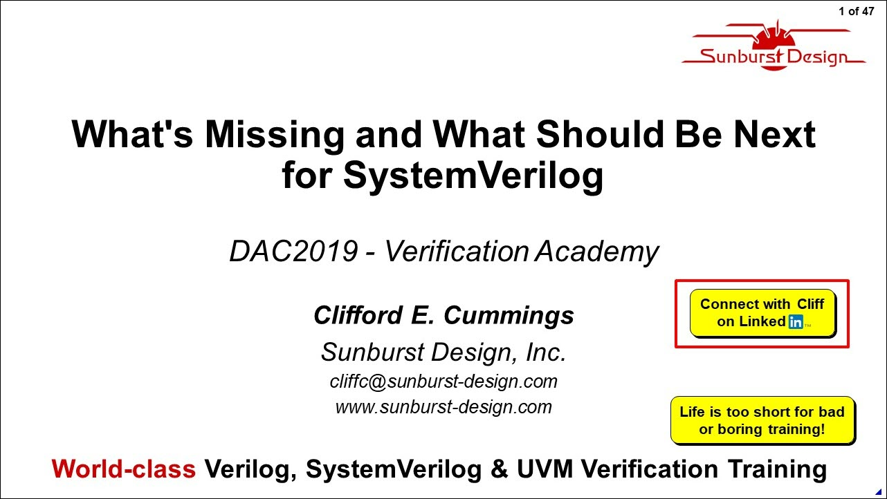 DAC 2019 | What's Missing and What Should Be Next for SystemVerilog