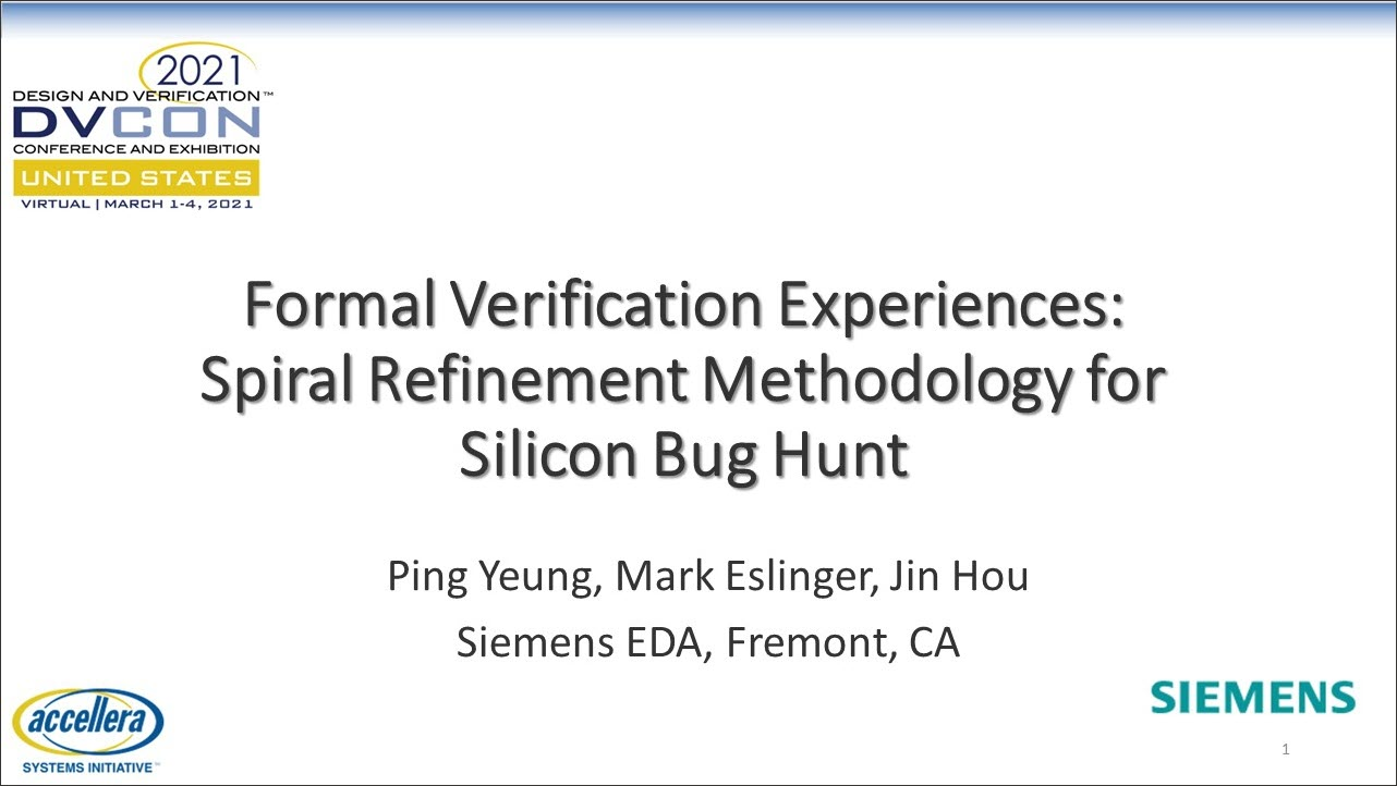 DVCon US 2021 | Formal Verification Experiences: Spiral Refinement Methodology for Silicon Bug Hunt