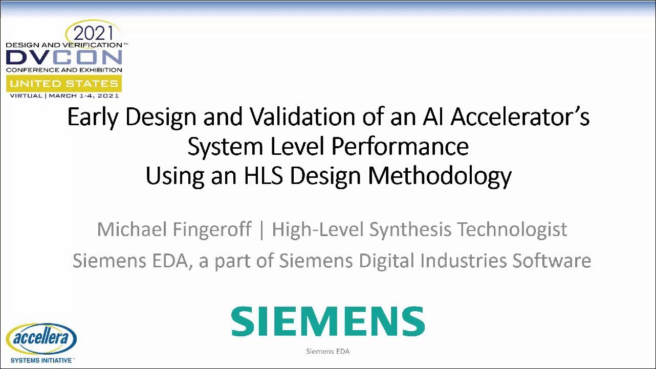 DVCon US 2021   Early Design & Validation of an Ai Accelerator's Performance Using an HLS Design Methodology