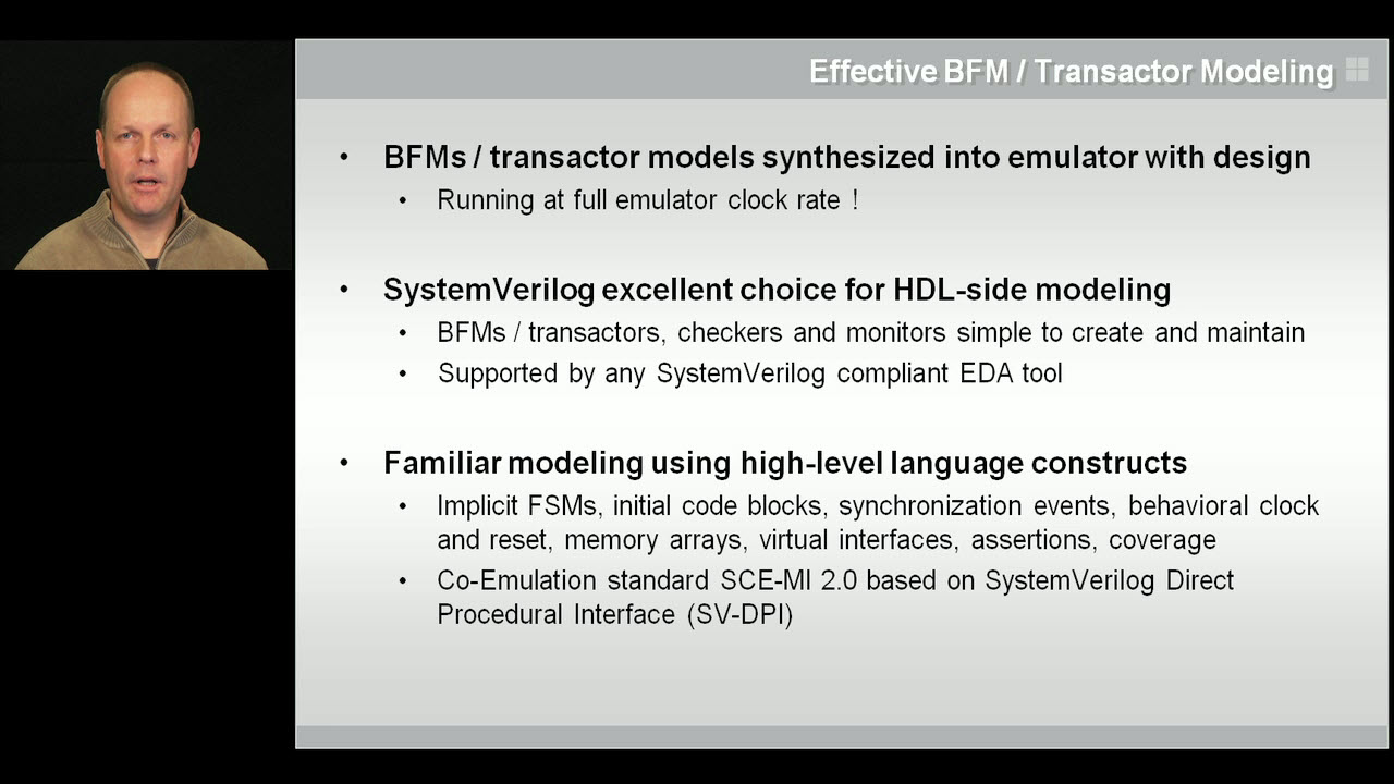 Modeling for Acceleration | Subject Matter Expert - Hans van der Schoot | Acceleration of SystemVerilog Testbenches with Co-Emulation